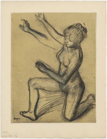 Etching And Aquatint Degas - Danseuse : étude de nu et mouvements (vers 1896)