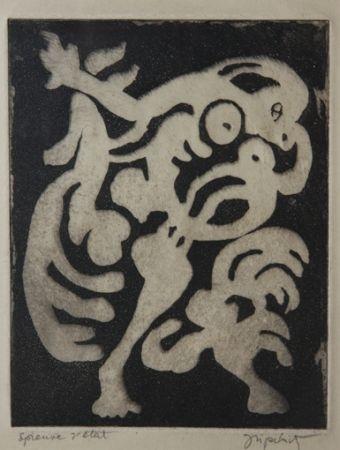 Aquatint Lipchitz - Danseuse et Coq (aka Femme et Coq)