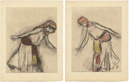 Etching And Aquatint Degas - Danseuse orientale : 2 études (vers 1890)