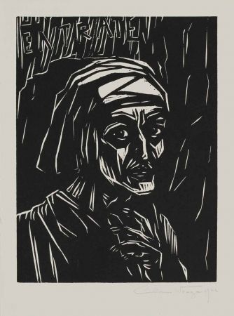 Woodcut Wrage - Dante before the Gates of Hell