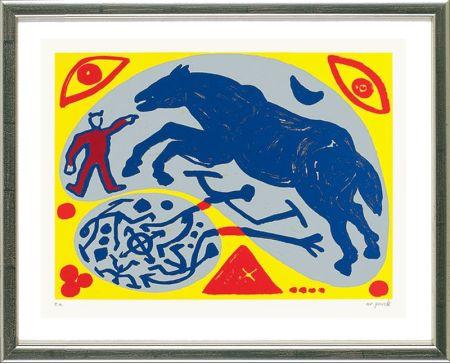 Screenprint Penck - Das Blaue Pferd und der Mongole