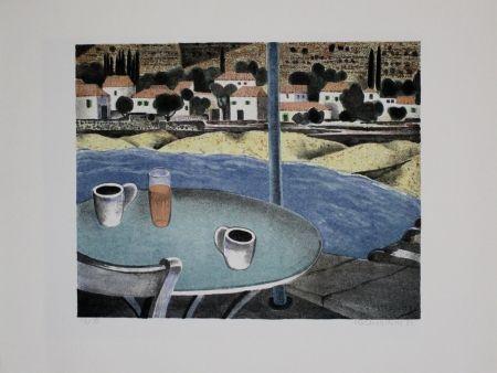 Lithograph Breiter - Das Café