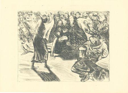 Lithograph Barlach - Das Paar in der Menge 2 (Heiliger, Strohbraut und Lumpensack)