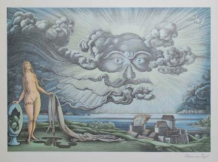 Lithograph Von Gugel - Das Wolkengesicht