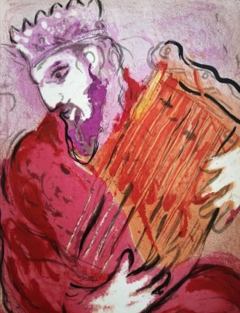 Lithograph Chagall - David