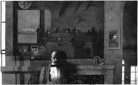 Engraving Milton - Daylilies