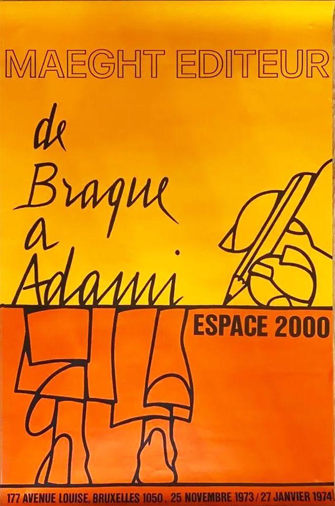 Poster Adami - DE BRAQUE À ADAMI : Exposition 1974. Affiche originale.