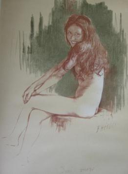 Lithograph Héroux - Demi-vierge