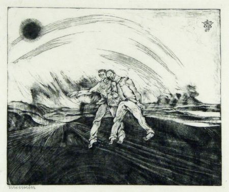 Woodcut Weisz - Der barmherzige Samariter (The Good Samaritan)