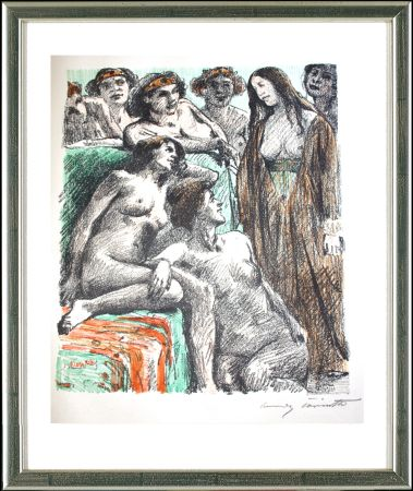 Lithograph Corinth - Der Bericht vor den Frauen