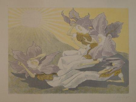 Lithograph Kreidolf - Der Blumen Erwachen. Vier liegende Clematis-Mädchen erwachen bei der aufgehenden Sonne.