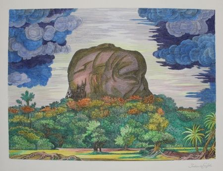 Lithograph Von Gugel - Der Fels von Sigiriya bei Tag / The Rock of Sigiriya at Daytime