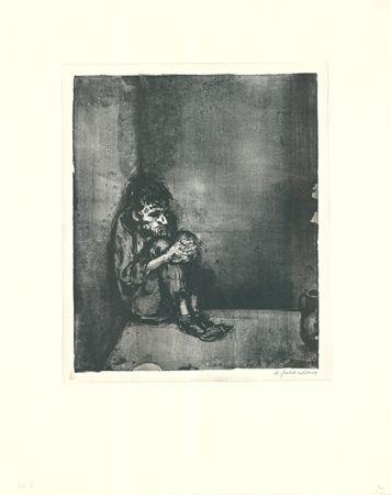 Lithograph Weber - Der Gefangene (Der Blechnapf)