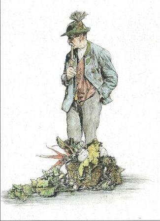 Etching Geissler - Der Gemüsemann / The Vegetable Seller