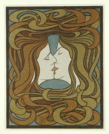 Woodcut Behrens - Der Kuss (The Kiss)