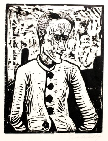 Woodcut Heckel - Der Narr (The Fool)