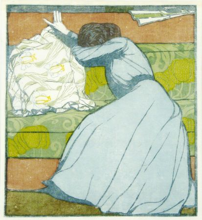 Woodcut Kurzweil - Der Polster (The Pillow)