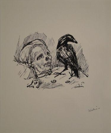 Lithograph Kubin - Der Rabe und die Tote