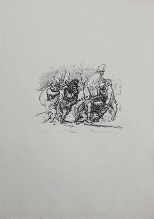 Lithograph Slevogt - Der schwierige Marsch durch den Schnee
