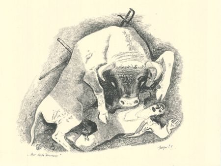 Lithograph Geiger - Der tote Torero / The Dead Bullfighter