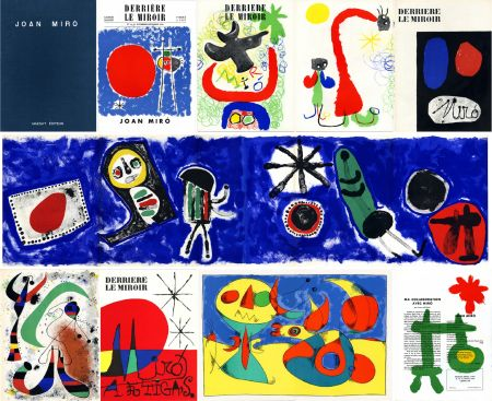 Illustrated Book Miró - DERRIÈRE LE MIROIR n° 14-15 (Nov-Décembre 1948) + n° 29-30 (Mai 1950) + n° 57-58-59 (Juin 1953) + n° 87-88-89 MIRO ARTIGAS (Juin-Juillet-Août 1956). 25 LITHOGRAPHIES ORIGINALES. ALBUM MAEGHT ORIGINAL.