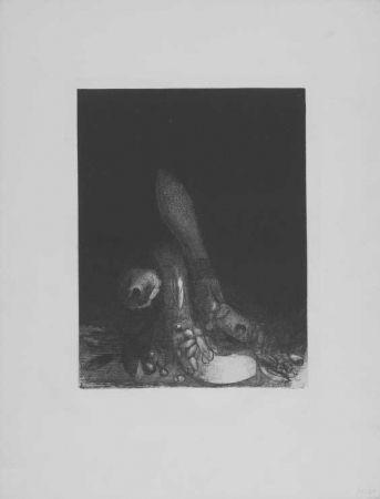 Lithograph Redon - Des fleurs tombent, e la tete d'un phyton parait