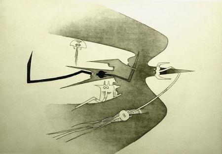 Etching And Aquatint Lam - Des hommes- oiseaux, des nageurs-courbes
