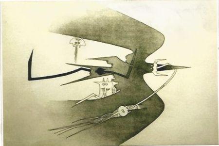Etching Lam - Des hommes -oiseaux, des nageurs-courbes