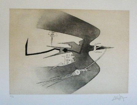 Etching And Aquatint Lam - Des hommes oiseaux, des nageurs courbes