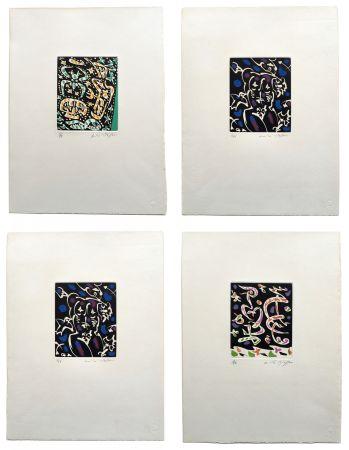 Etching And Aquatint Masson - Desnos: MINES DE RIEN. SUITE COMPLÈTE SIGNÉE À GRANDES MARGES (1957).