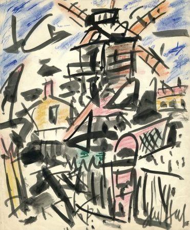 No Technical Paul  - Dessin Original / Original Drawing - LE MOULIN DE LA GALETTE - Paris / Montmartre