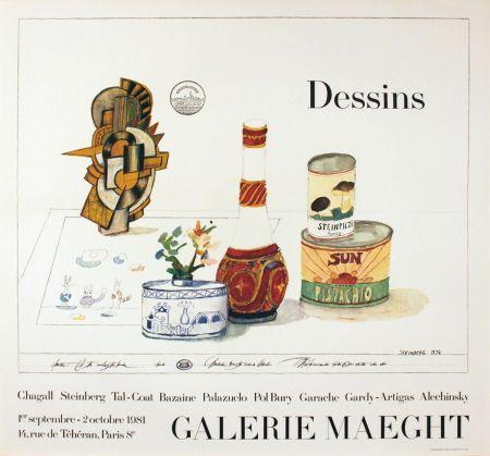 Poster Steinberg - DESSINS. Galerie Maeght 1981. Tirage de luxe de l'affiche.