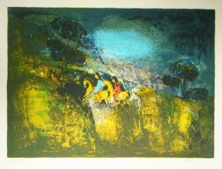 Lithograph Lebadang - Deux cavalieres