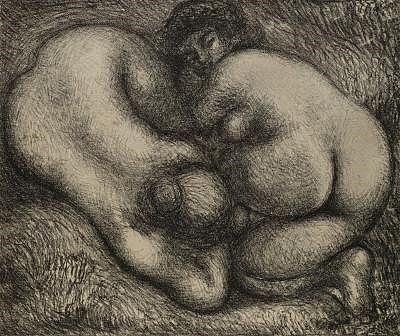 Lithograph Maillol - Deux femmes dans l'herbe.