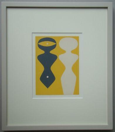 Woodcut Arp - Deux Figures