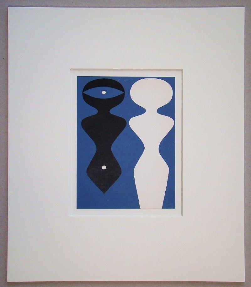 Woodcut Arp - Deux figures sur fond bleu