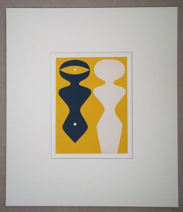 Woodcut Arp - Deux figures sur fond jaune
