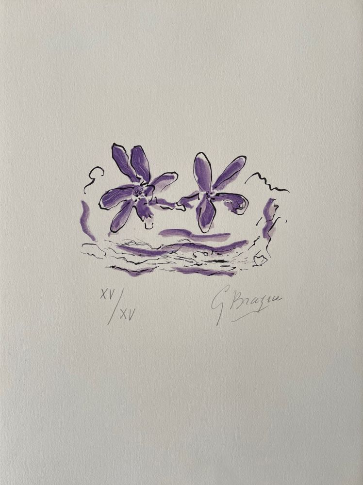 Woodcut Braque - Deux fleurs violettes