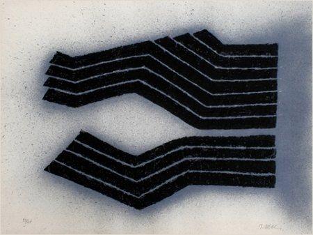 Lithograph Ubac - Deux labours empreinte ardoise