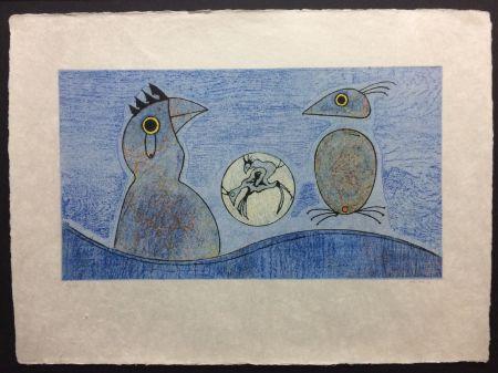 Lithograph Ernst - Deux Oiseaux