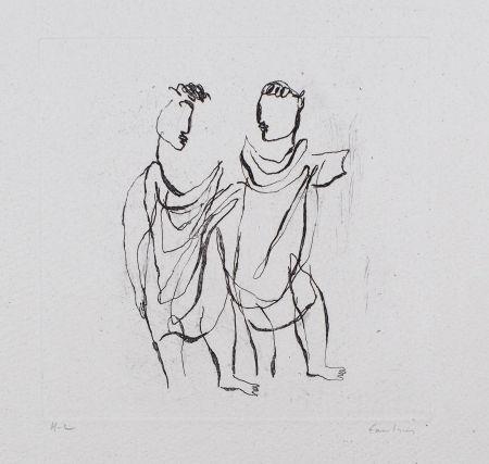 Etching Fautrier - Deux personnages