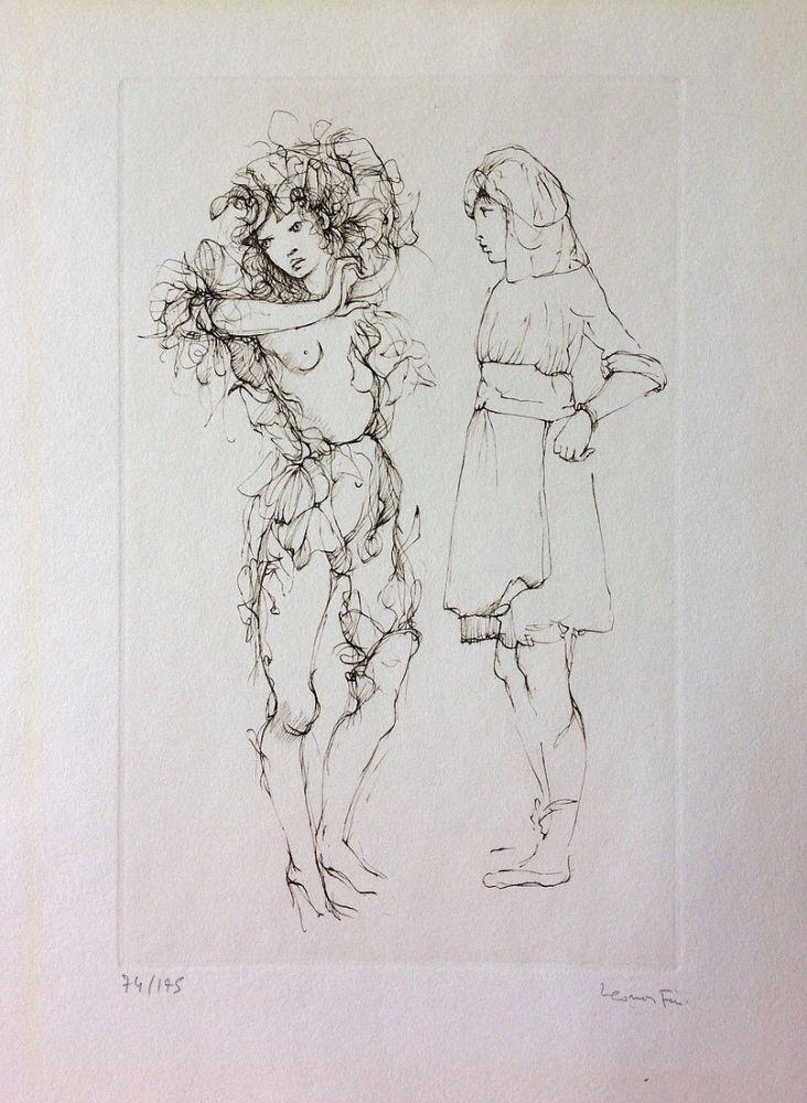 Engraving Fini - Deux personnages. Eau-forte. Signé.