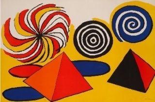 Lithograph Calder - Deux pyramides trois arcs de cercle