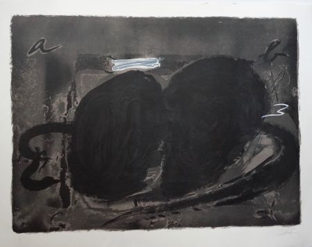 Lithograph Tapies - Deux Utrous