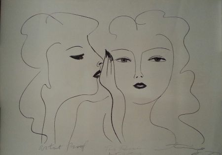 Lithograph Ting - Deux Visages