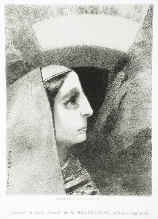 Lithograph Redon - Devant le noir soleil de la Mélancolie, Lénore apparaît