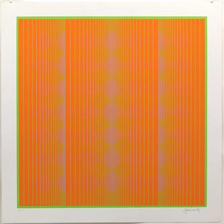 Screenprint Stanczak - Diamonds Floating in Orange