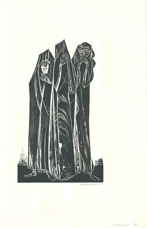 Woodcut Hansen-Bahia - Die drei Marien / The Three Marys
