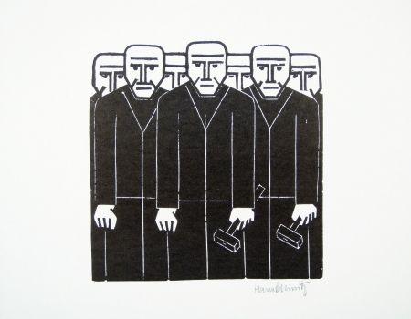 Linocut Schmitz - Die Masse (The Mass)