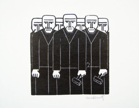 Linocut Schmitz - Die Masse (The Mass)